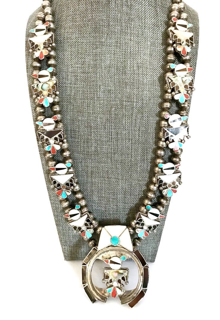 Excited to share the latest addition to my #etsy shop: Zuni ThunderBird Squash Blossom Necklace, 10 Thunder Birds & Large Naja Thunderbird, Early 1950's, Statement Necklace, Vintage Gift http://etsy.me/2GKMZ7c #plsfollow #newitemsdaily #etsyretwt #share