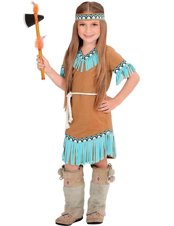 Déguisement petite indienne marron et bleue fille : Ce déguisement de petite indienne pour fille se compose d'une robe, d'un bandeau et d'une ceinture (plume du bandeau, hache, bijoux et chaussures non inclus). La robe est marron...