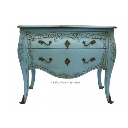 Eloise 2 Drawer Chest - French Blue French Ornate Modern Baroque & Rococo Furniture www.fabulousandbaroque.com