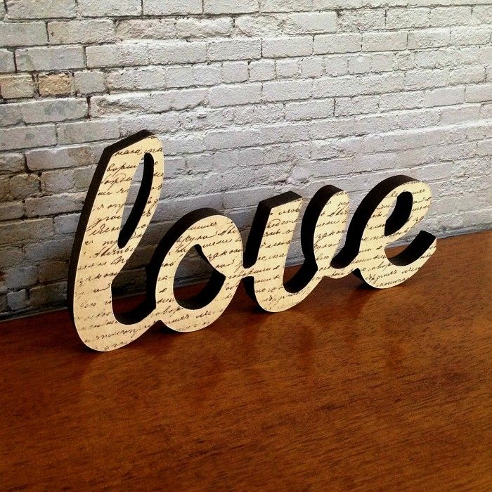 Love Letter Wooden Freestanding Script Word Sign Plaque Neutral Brown Home Decor - by StudioAstratta on madeit