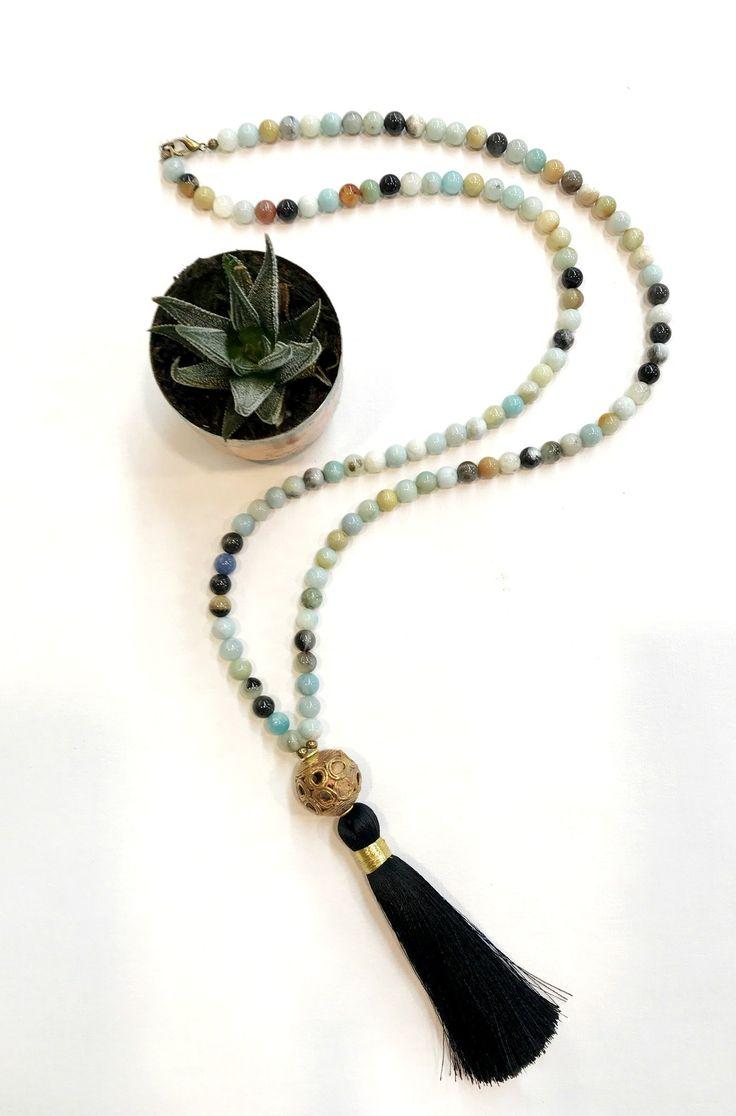 Black Silk Tassel/Amazonite Gemstones Necklace