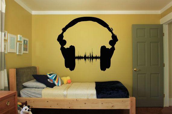 Removable Wall Room Decor Art Vinyl Sticker Mural Decal Style  Popular Music Joy Optimism New Headphones Player Dance FI078