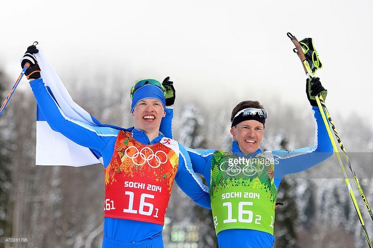 Sami Jauhojaervi (R) of Finland celebrates with team mate Iivo Niskanen of Finland after they won the gold medal in the Men's Team Sprint Classic Final during day 12 of the 2014 Sochi Winter Olympics at Laura Cross-country Ski & Biathlon Center on February 19, 2014 in Sochi, Russia.