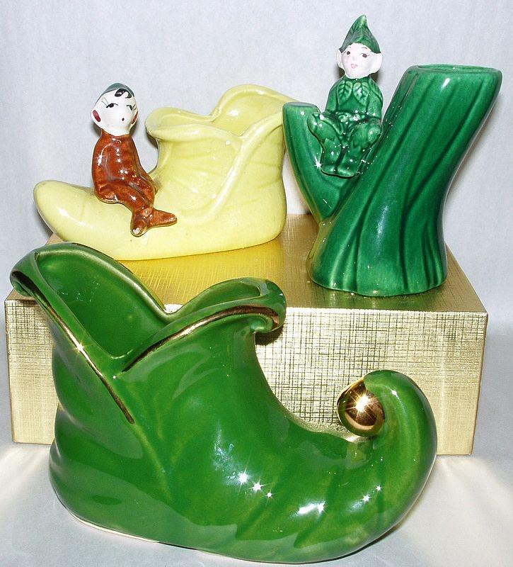 3 Vintage 1950 S Christmas Elf Pixie Shawnee Green