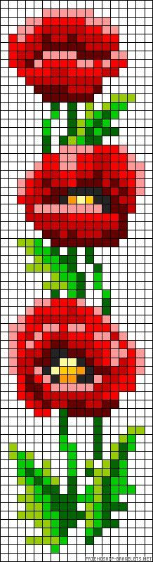 Poppies flowers perler bead pattern