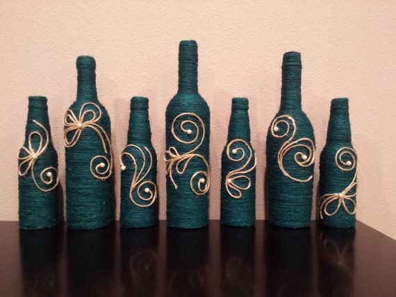 Jute twine wrapped bottles rustic decor decor by KarinasCreativity
