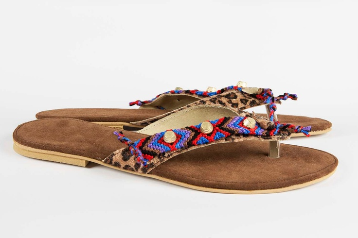 Jeweled leather sandal Gypsy Soul - Red/Blue