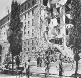 """King David Hotel Bombing by Jewish fighters, the Stern Gang and the Irgun. The British tried to prevent Holocaust refugees from entering Palestine. (The book """"Exodus"""" tells the story of how Jewish refugees, with no home to return to at the end of the war, boarded an old Greek freighter, 'The Exodus', and secretly circumvented British refusal to allow the Jews into Palestine. The UN Partition created Israel, the Brits left, then the Arabs attacked the Jews."""