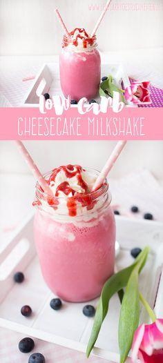 Low Carb Cheesecake Milkshake, Dessert für zwei - Ohne Sahne dafür mit Chiasamen auch als Frühstück geeignet www.lowcarbkoestlichkeiten.de