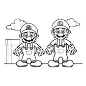Coloring pages Mario Bros and Luigi (Nintendo)