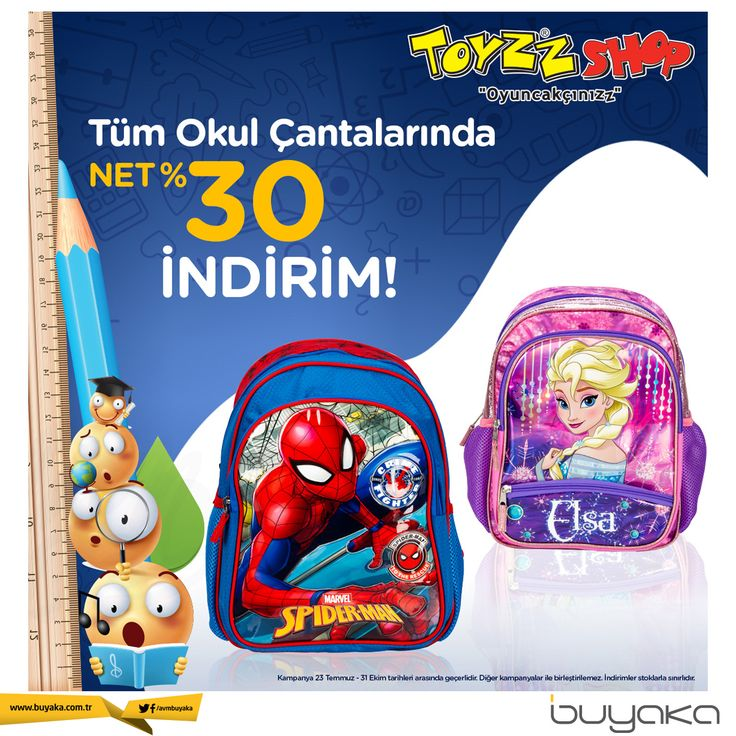 Tüm okul çantalarında %30 indirim Buyaka Toyzz Shop'ta! #buyakabibaşka #be…