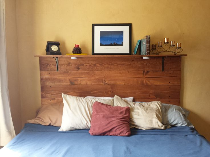 Plank headboard with a shelf -Wooden Rope -