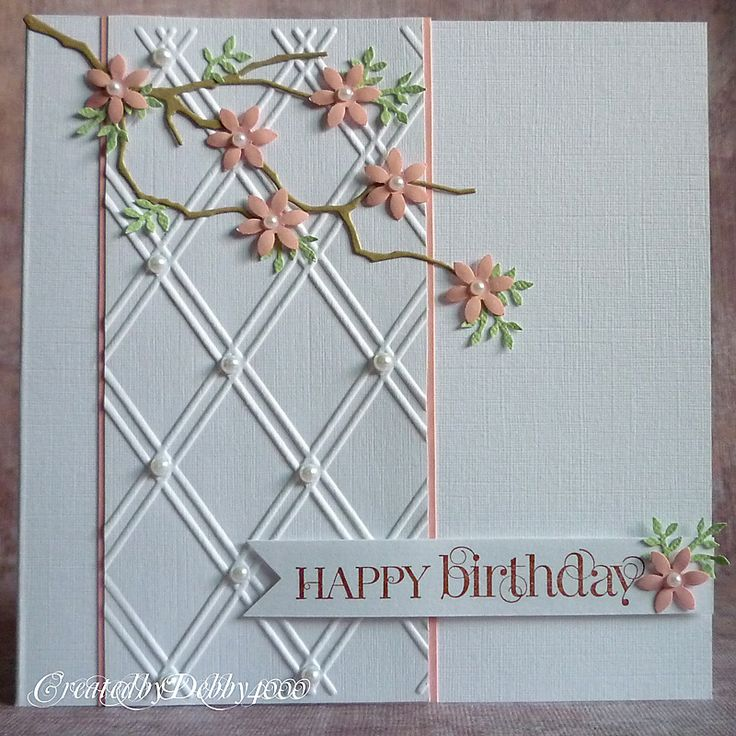 Beautiful - Memory Box branch die and a lattice embossing folder