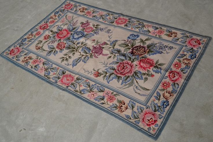3' X 5' So Beautiful Blue Pink Red Rose Bunch Gorgeous Handmade Needlepoint Rug