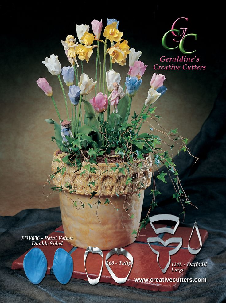 Create beautiful flowers with our cutters and veiners. For more information on our products visit our website www.creativecutters.com NOW! Creative Cutters' ad for the American Cake Decorating Magazine. March - April 2015 Issue Cake made by Geraldine Randlesome from Creative Cutters.
