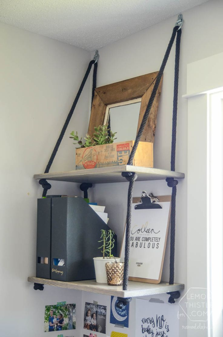 Easy diy rope shelving shelves hanging shelves and shelving for Easy diy shelves