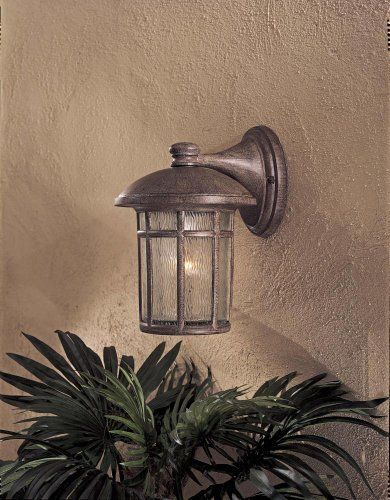"""Cranston 12 3/4"""" High Vintage Rust Finish Outdoor Wall Light by Minka Lavery. $61.00. Driftwood glass.. Extends 10 3/4"""" from the wall.. Vintage Rust finish.. 12 3/4"""" high.. Takes one 100 watt bulb (not included).. The Cranston Collection has a modern, Western look that is at home in a rural as well as a city setting. A unique, one-piece driftwood glass gives this collection rich character. The die cast aluminum construction is finished in Vintage Rust, which is hand..."""