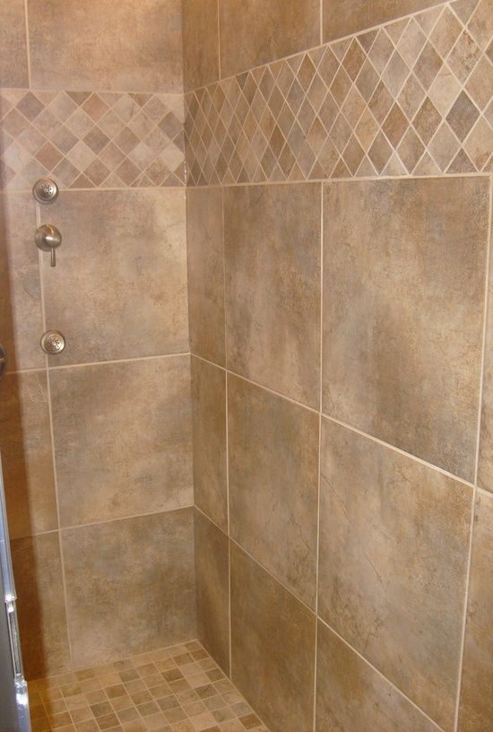 Downstairs half bath off garage - Tile Shower- tile pattern