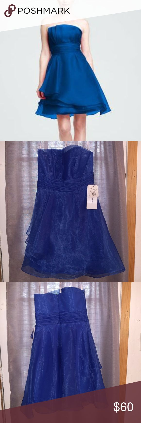 "David's Bridal Strapless Organza Dress in Horizon This dress is strapless, but it comes with a strap that can be used to make it into a halter dress.  The color is a lovely, very vibrant blue. David's Bridal calls it ""Horizon"".  These dresses have never been worn & the tags are still on.  I looked over these extremely closely, checking for flaws of any kind, but I didn't find anything at all.  I bought these as bridesmaid dresses, but they would also be great for a school dance or other…"