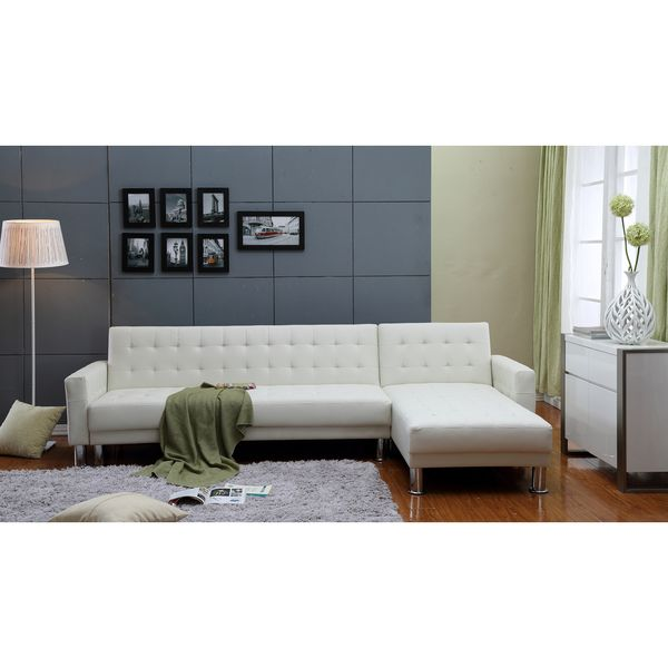 Tufted Sofa the Hom Marsden piece White Tufted Bi cast Leather Sectional Sofa Bed by THY HOM Sleeper sectional and Leather sectionals