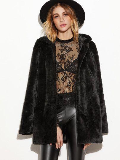 Black Open Front Faux Fur Hooded Coat