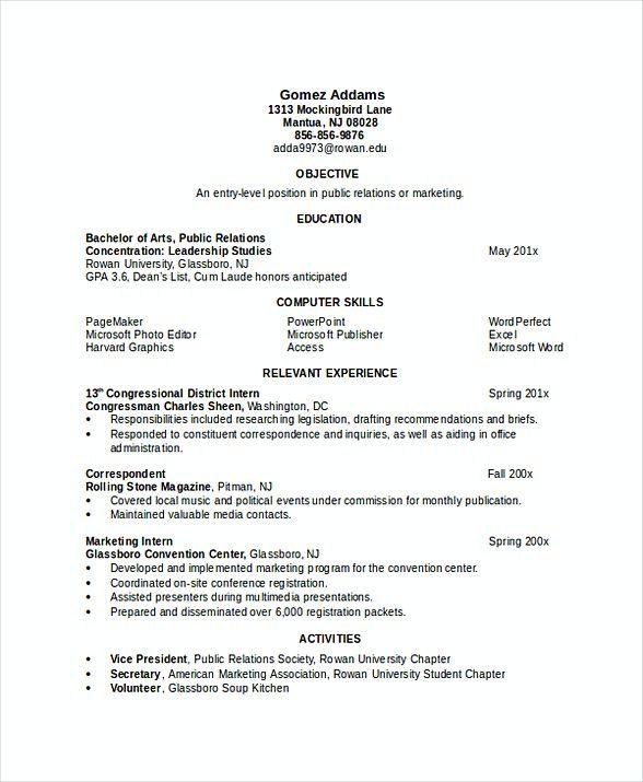 internship resume for engineering students