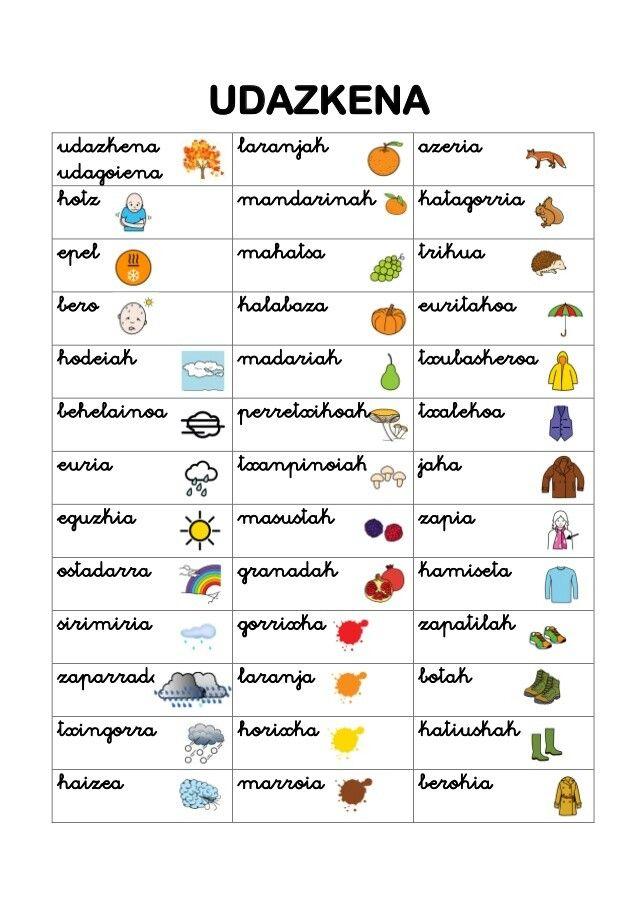 Udazkena Euskera Aprender Imprimibles Para Preescolar Crucigrama Para Niños