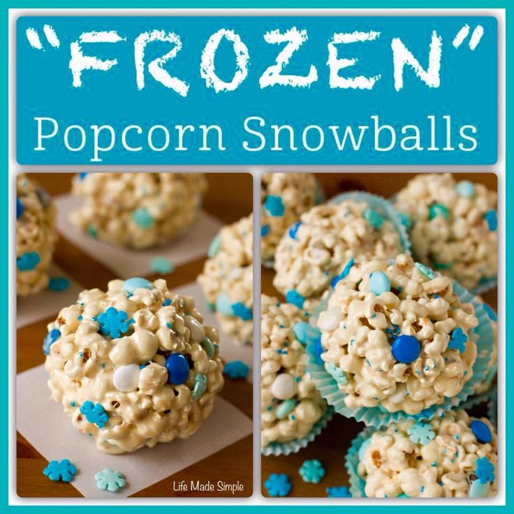 NO BAKE FROZEN Popcorn Snowballs/ I'm replacing popcorn with rice krispies because my girl has braces