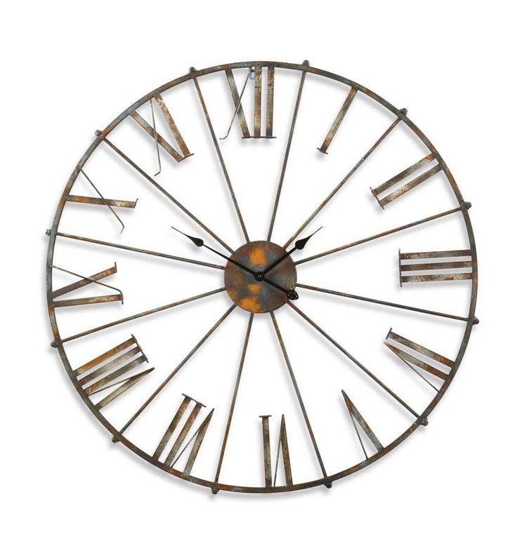 Rustic Metal Open Faced Wall Clock 38 25 Inch Diameter