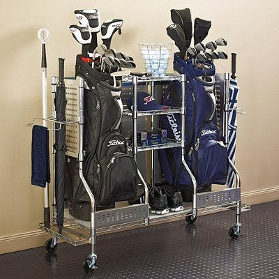 A way to store two golf bags along with shoes, balls and other golf necessities. #golf #organize  For more organization ideas, check out my blog: http://balancesf.com/blog