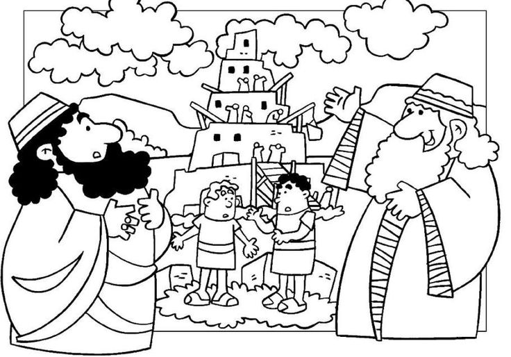 Tower Of Babel Coloring Page | American flag coloring page ...