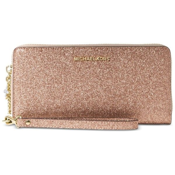 Michael Michael Kors Alex Travel Continental Wallet (250 CAD) ❤ liked on Polyvore featuring bags, wallets, rose gold, glitter wallet, leather wallets, slim leather wallet, real leather wallets and leather wristlet