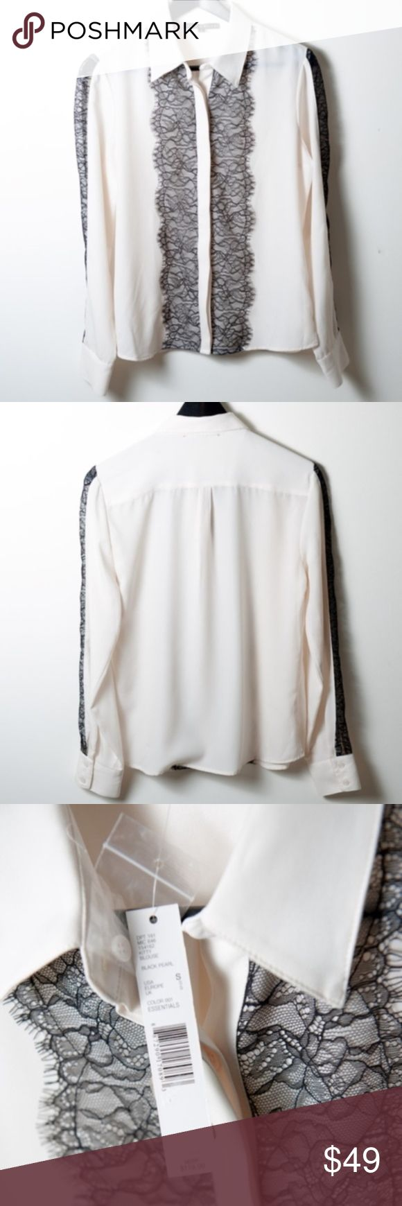 NWT Antonio Melani Off White Button Down Blouse New with tags Antonio Melani blouse. Off white, button down. Black lace trim on front and see through lace trim down arms. Size small.  tags - work wear, professional, weekend, date night, night out, girls night, sexy ANTONIO MELANI Tops Blouses