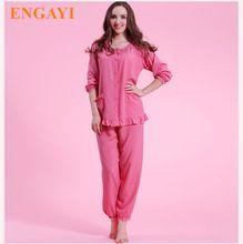 Las nuevas Mujeres de Algodón de Ocio Pijamas Pijamas Conjuntos Longue Femme Sexy Pijamas del Camisón de Dormir Vestido de La Noche Robes Albornoz M7920(China (Mainland))