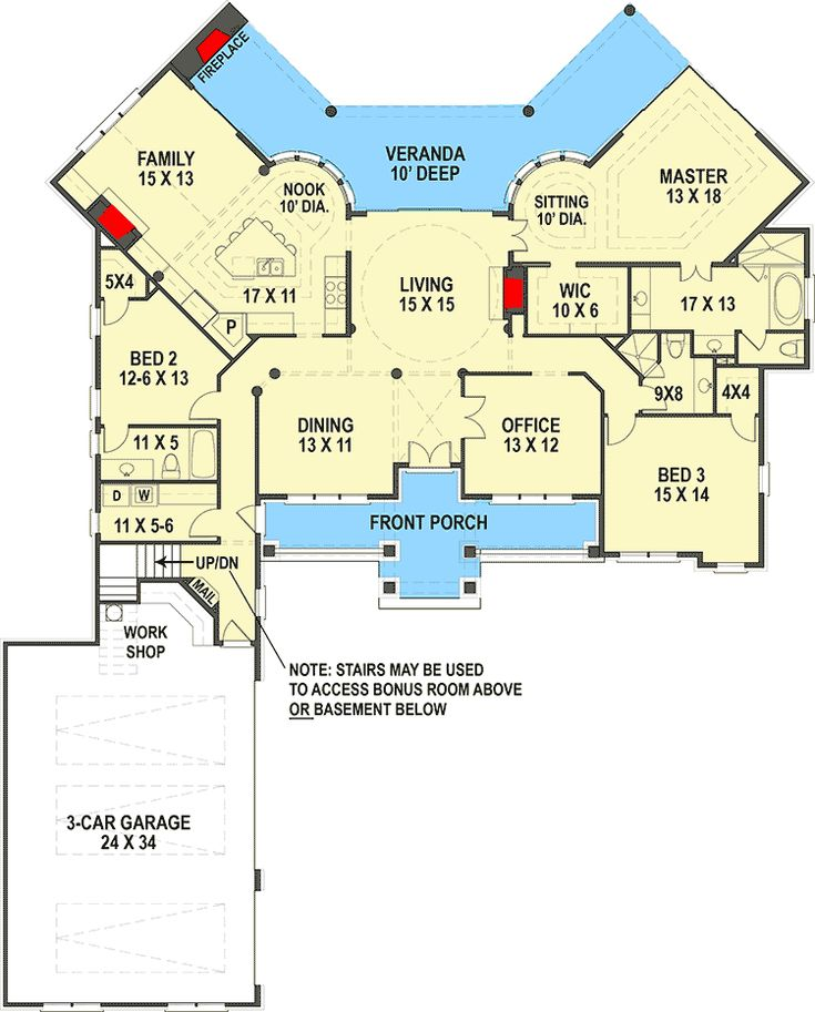 Traditional House Plan With Brick Exterior And Bonus Over Garage - 12313JL floor plan - Main Level