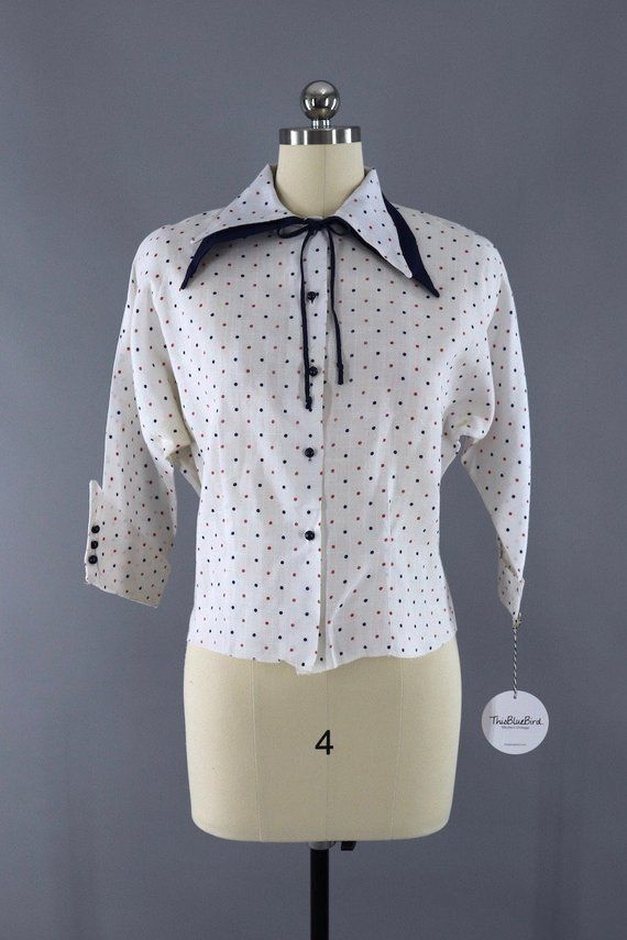 5f43e3ef2 Vintage 1950s Polka Dot Print Blouse, 50s New Look, White Red Navy Blue,  Linen Shirt #NewLook #WhiteBlouse #VintageBlouse #LinenBlouse #1950sBlouse  ...