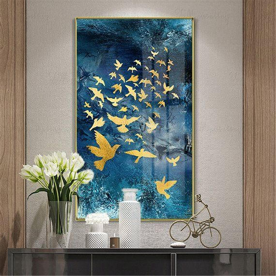 Gold Leaf Abstract Painting Canvas Wall Art Pictures For Living