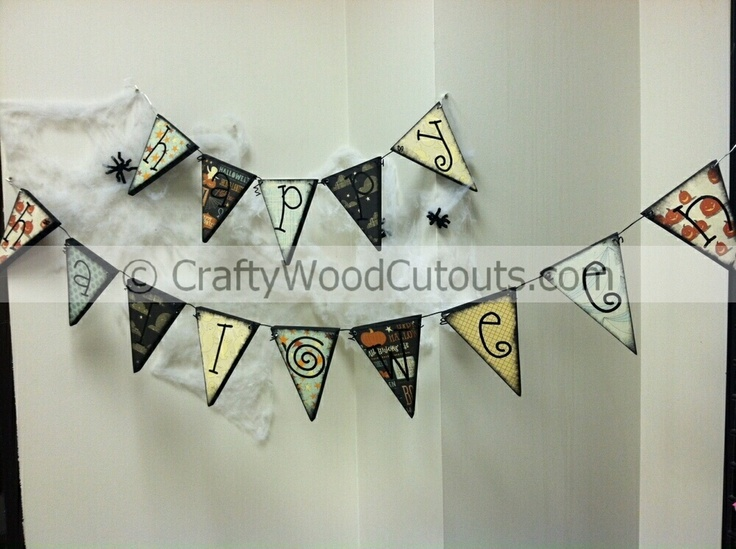 52 best october wood crafts images on pinterest halloween happy halloween hanger wood craft vinyl from crafty wood cutouts sciox Images