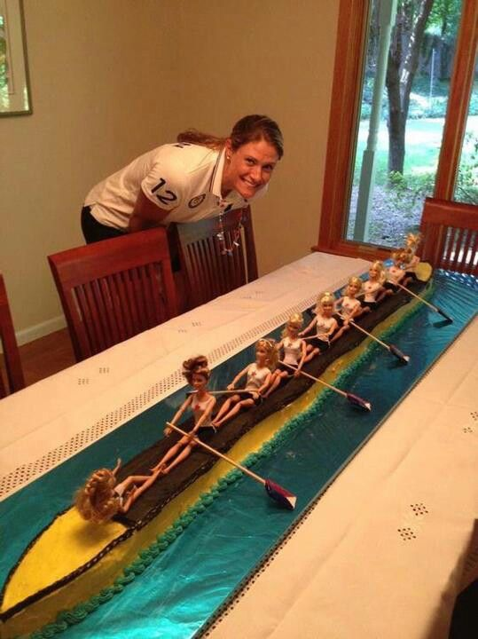 Rowing cake awesome! Would be so easy to make. The hard part would be finding enough Barbie's! lol