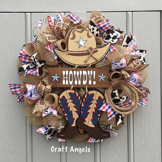Cowboy Wreath, Country Wreath, Rodeo Wreath, Rustic Wreath, Western Wreath, Howdy wreath, burlap wreath, summer wreath, everyday wreath