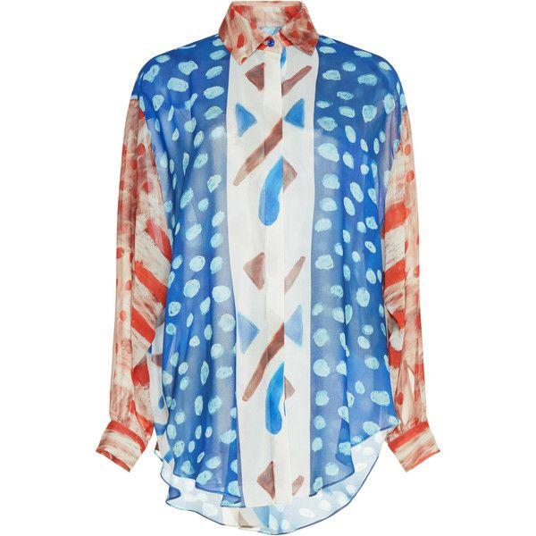 Tata Naka Tropical Print Shirt (19 515 UAH) ❤ liked on Polyvore featuring tops, print, shirt top, button up top, print shirts, pleated top and blue button up shirt