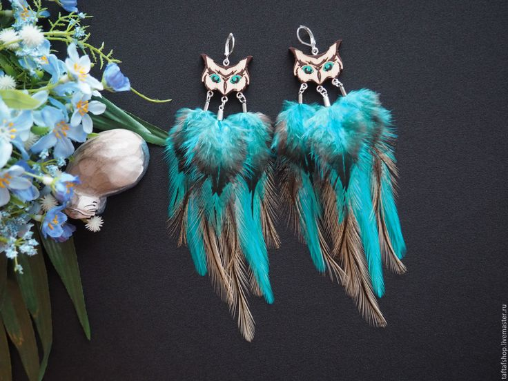 Купить Лунная охотница - бирюзовые серьги с перьями бохо с совой - серьги с перьями