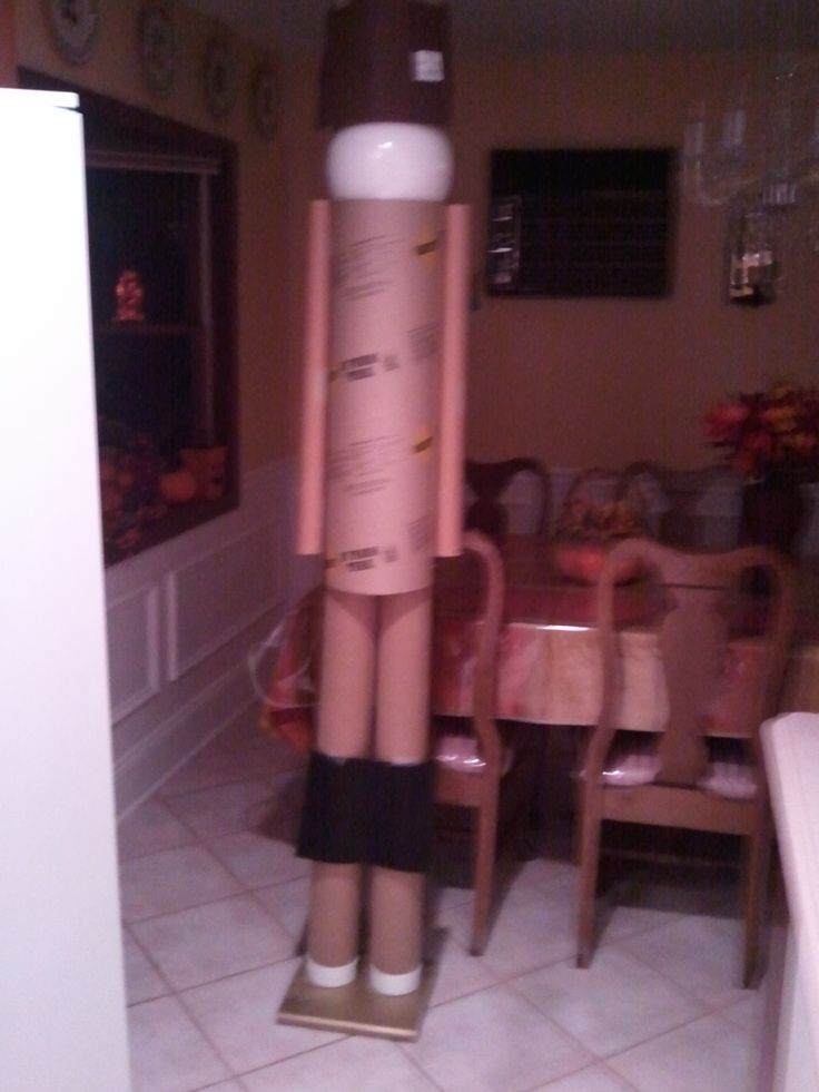 6ft nutcracker made from cardboard tubes with Styrofoam head