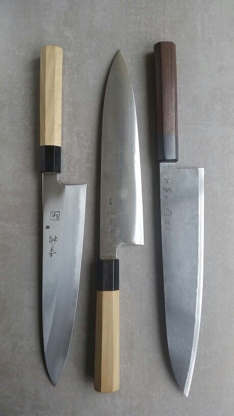 Recent purchases. Left-right: Konosuke Fujiyama Gyuto 240mm blue/aogami #2; Sukenari Ginsan Gyuto 240mm; Takeda Stainless Clad Aogami Super Sasanoha 240mm