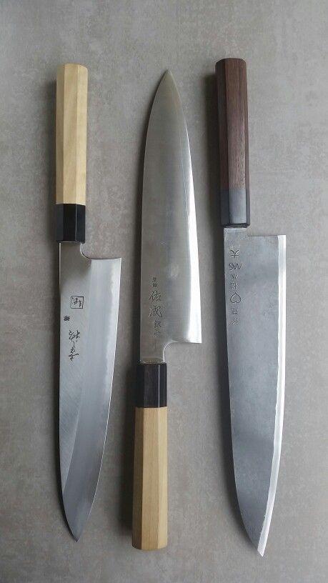 Recent purchases. Left-right: Konosuke Fujiyama Gyuto 240mm blue/aogami #2; Sukenari Ginsan Gyuto 240mm; Takeda Stainless Clad Aogami Super Sasanoha 240mm