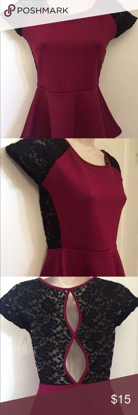 Selling this Charlotte Russe Peplum Top Plum w/ black lace in my Poshmark closet! My username is: sheajordan02. #shopmycloset #poshmark #fashion #shopping #style #forsale #Charlotte Russe #Tops