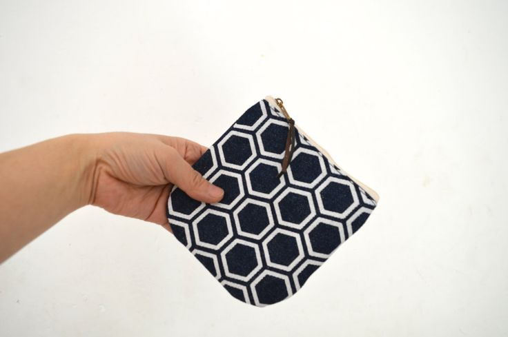 Canvas coin purse, Mini zipper pouch, Denim small pouch, japanese pattern print, indigo pouch by UMEHARAKABAN on Etsy