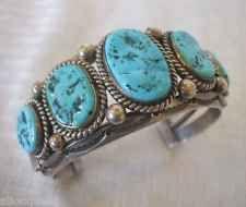 Signed Vintage Navajo HARRISON JIM Sterling Silver TURQUOISE Cuff BRACELET, 103g