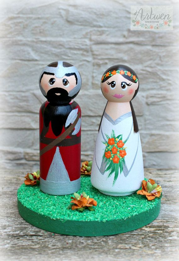Personalized Wedding Cake Topper with accessory by ArtwenShop