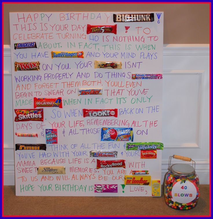 40th Birthday candy bar poem!! Can use it for 30, 40, 50, 60!! #birthday